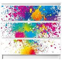 banjado Möbelaufkleber für Kinder-Zimmer   Selbstklebende Möbelfolie passend für IKEA Malm Kommode   Wandtattoo Deko mit Design Farbspritzer für 3 Schubladen