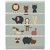 banjado Möbelaufkleber für Kinder-Zimmer | Selbstklebende Möbelfolie passend für IKEA Malm Kommode | Wandtattoo Deko mit Design Eule und Co B für 4 Schubladen
