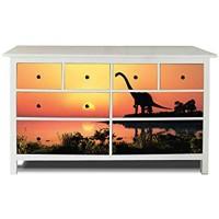 banjado Möbelaufkleber passend für IKEA Hemnes Kommode 8 Schubladen   Selbstklebende Möbelfolie   Sticker Tattoo perfekt für Wohnzimmer und Kinderzimmer   Klebefolie Motiv Dinotrauriger