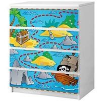 Set Möbelaufkleber für Ikea Kommode MALM 4 Fächer/Schubladen Kinderzimmer Cartoon Karte Schatzkarte Pirat Schiff Kat2 Piratenschiff Meer ML4 Aufkleber Möbelfolie sticker Ohne Möbel Folie 25B2608