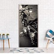 dalongshan Türaufkleber DIY 3D Wandaufkleber Wandbild Schlafzimmer Wohnkultur Poster PVC Harley Motorrad Wasserdichte Tür Aufkleber Deca 77 * 200Cm