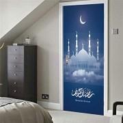 Türaufkleber 3D Selbstklebend Stechapfel Ramadan Eid Al Fitr Festival Türaufkleber Wohnzimmer Schlafzimmer Hausrenovierung Dekor Peel and Stick Art Tür Poster Geschenk
