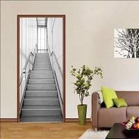Türbild Türaufkleber wasserdicht selbstklebend Wandbild 3D Vinyl Inneneinrichtung DIY PVC Stahltreppe