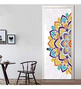 YANCONG Türaufkleber Wunderbare Eine Halbe Bunte Mandala-Blume Tapete Fototapete Türtapete Selbstklebend Türposter 77X200Cm