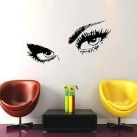 Beauty Salon Mädchen Augen Wandtattoo Interieur Make Up Frau Gesicht Wandaufkleber Haar Home Decoration Sexy Augen Kunst Wandbild Ansicht 57X28Cm