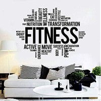 Fitness Word Wall Decal Healthy Lifestyle Wall Sticker Gym Motivation Vinyl Sticker Home Decoration 56 * 76Cm