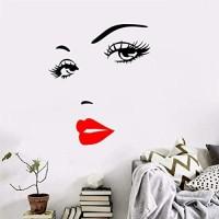 WENQI Selbstklebende Wandaufkleber weibliche Wimpern rote Lippen geschnitzt selbstklebend Heimdekoration Kunst 1 Stück/Set
