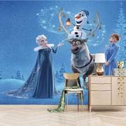 Dsromhgqi 3D Poster Wandbild Wallpaper 450x300cm Cartoon blau Prinzessin Elch Wohnzimmer Wandbild selbstklebende Wandbild Landschaft Poster Bild Foto 3D Wallpaper Kinderzimmer Büro Hotel Hotel Dekorat