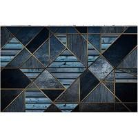 Fototapete 3D Effekt Tapete Blaue Holzbrettholzmaserung Der Goldenen Geometrischen Linien Fototapete Vliestapete Tapeten Wandtapete Wanddeko Wandbilder 250x175cm
