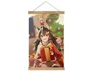Hohe Qualität Wandbilder Deko Poster Shirakami Fubuki Ho-lo-live 55 Poster Wandbild mit Rahmenzubehör fertig zum Aufhängen für die Heimdekoration -30cm '' × 50cm ''