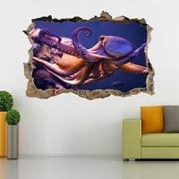 WYHXYZ 3D Look Wandtattoo Octopus Ocean Life Smashed Wandaufkleber Aufkleber Home Decor Art Wandbild Fisch J385