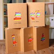 4R 100 Albums Plug in Family Children Creative Simple Album Handmade Diy Commemorative Memories Cute Shell Bear Deer Whale Fotoalben