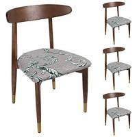 Qishare 4er Set Stuhlbezug für Bürostuhl Husse universellen waschbar Stretche Bezug Sitzbezug Stuhlhussen für Esszimmer BüroBlatt Bedruckte