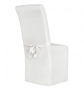 TecTake Stuhlhusse Stuhlüberzug Stuhlbezug mit Schleife - Diverse Farben - Weiß