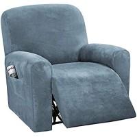 NOPEXTO Sesselbezug Stretch Samt Sesselschoner Für Relaxsessel Sesselüberwürfe Bezug Für Fernsehsessel Liege Sessel Grau Blau