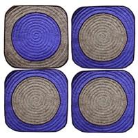 4er Set Sitzauflagen BLUE DOT GREY - 39x39cm - 100% Wolle - Handarbeit
