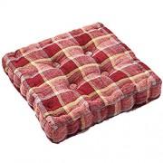 AIKES Rattanmöbel Sitzauflage Baumwolle Tatami Stuhlkissen Restaurants Innen Außen Komfort Retro Couch Sitzkissen Quadratisch Dicke Bodenkissen-Rotes Gitter 42x42cm