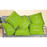 GILDE 1 Stück Filz Kissen Sitzauflage Stuhlauflage grün/grau 40 x 40cm mit Spruch