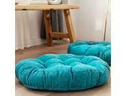 Hohe elastische Kissenbezug Runde Bodensitzkissen Bodenkissen Baumwolle Leinen Meditation Kissen Yoga Sitzauflage for Innenhauptdekor-Party Freizeitmöbel Garten Blau 55cm