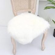 Martin Kench Faux Lammfell Sitzkissen Schaffell Sitzauflage Longhair Fell Optik Nachahmung Wolle Sofa Matte Weiß 50 x 50 cm