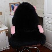 SWECOMZE Sitzkissen Faux Lammfell Schaffell Sitzauflage Flauschige Sitzauflage Longhair Fell Optik Nachahmung Wolle Sofa Matte schwarz 75x120cm