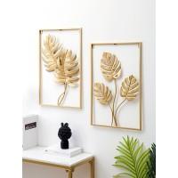 Nordic nicht perforierte metall wand dekor mode licht luxus wohnzimmer hängen pendent kreative gold leaves home dekoration Wandaufkleber