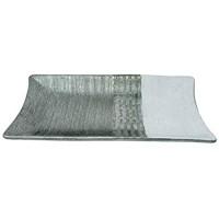 Benera Dekoschale Rechteckig Dekoteller Moderne Tischdeko Dekorativ Silber Weiß Gemustert 39 x 18 cm