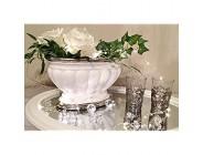 DRULINE Dekoschale Dekovase Keramikschale Keramikvase Keramik Weiß-Silber Hochglanz
