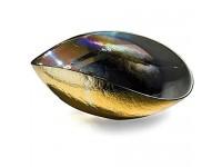 YourMurano Murano Glasschale schillernde Effekte auf goldenem Glas gefalteter Mittelaufsatz handgefertigte Schale 100% Markenware