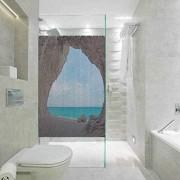 Statisch haftender Buntglas-Folie Buntglas-Fensteraufkleber natürliche Höhlen-Dekorationen Dreamy Cara Luna Cave für Zuhause Glasfolie für Badezimmer Meeting Living Ro 45 cm B x 89 9 cm L