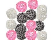 Pemalin Dekorative Rattan-Kugeln 15 Stück im Stil von Farbe Dekoration für Vasen Hochzeit Geburtstag Party Tischdekoration Kunsthandwerk und Kindergarten-Dekoration weiß rosa grau