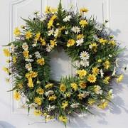 UNIE Frühlingssommer-Türkranz 55 9 cm dekorativer Gänseblümchen-Kranz natürliche Ranken Blumen Kränze für Haustür Zuhause Hochzeitsdekoration
