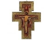 Ferrari & Arlineetti Kruzifix San Damiano Wanddekoration Druck auf Holz Rand Gold - 19 5 x 15 cm