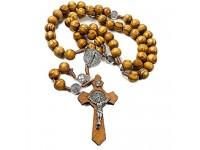 Jerusalem Rosenkranz aus Olivenholz mit katholischer NR-Medaille handgefertigt