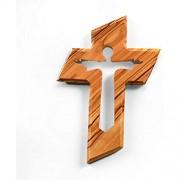 KASSIS Olivenholz Kreuz Kruzifix Wandkreuz mit dem auferstandenen Jesus Christus zum Aufhängen aus Bethlehem zur Firmung Taufe Kommunion 13 x 9 cm