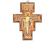 Kruzifix San Damiano aus Holz zur Wandmontage hergestellt in Umbria Italien 19 x 14 cm