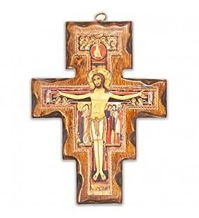 Kruzifix San Damiano aus Holz zur Wandmontage hergestellt in Umbria Italien 34 x 25 7 cm