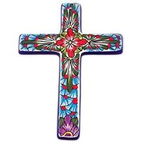 NOVICA Talavera Wandkreuz aus Keramik handbemalt groß mehrfarbig