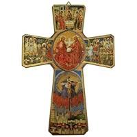 Religiöse Kunst Das Leben von Christus Heilige Dreifaltigkeit Ikone auf Holz Wandkreuz Kruzifix 23 cm