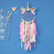 Jewaytec Einhorn Traumfänger Wanddekoration Bunte Feder Traumfänger Handgemachte Wandbehang für Mädchen Kinder Schlafzimmer Dekoration LED pink