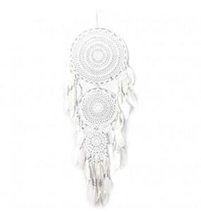 JYZT Große Weiße Traumfänger Windspiel Home Decor Handgemachte Kreisförmige Net Mit Federn Für Wand Auto Hängende Dekoration Ornament Handwerk Geschenk