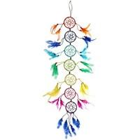 Traum-Fänger / Mobile / Hänge-Deko Mexico Rainbow aus Wolle mit Federn & Holz-Perlen / Hänge-Girlande / Party-Dekoration / Girlande / Südamerika Style / Feier / Geburtstags-Deko
