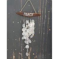 Treibholz Vorhang mit Capiz Muscheln Schwemmholz Girlande Mobile Natur Windspiele Maritim Baddeko Fensterdeko