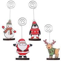 Weihnachtskartenhalter COTEY 4 Stück Weihnachten Kartenhalter Memo Inhaber der Zeichenkarte für Hochzeiten Büro Restaurant und Weihnachtsfeiern
