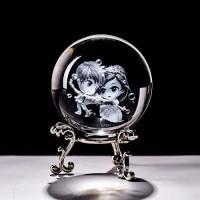 liangzishop Kristallkugel 6cm Kristall 3D Ball Papiergewicht Lasergravierte Glaskugel Figur Dekoration Ornamente Crafts Creative Geschenke Schneekugeln Color : with Silver Base Size : 60mm