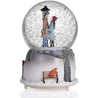 Paar Schneekugeln musikalische Schneekugeln Ornament Paar Liebhaber Spieluhren mit LED-Licht romantische Paar musikalische Schneekugeln für Freundin Wasserkugel Winter Glitter Art Kristallkugel
