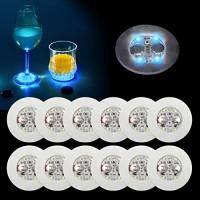 Ahier LED-Untersetzer 12 Stück LED-Untersetzer für Getränke LED-Bar-Untersetzer perfekt für Party Hochzeit Bar blau
