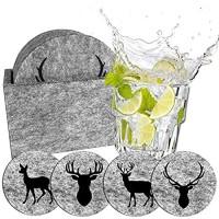 camolo Runde Premium Filz Untersetzer WILD Glasuntersetzer Set Untersetzer Für Gläser Getränke Hellgrau 9-teilig