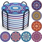 Evobak Thirstystone Untersetzer für Getränke Tischschutz Keramik-Baruntersetzer mit Halter moderne Dekoration für Hauseinweihungsgeschenke 8 Stück/Set