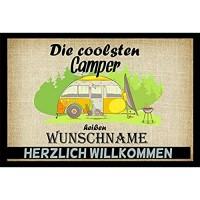 Crealuxe Fussmatte Die coolsten Camper heißen. - Wunschname - Fussmatte Bedruckt Türmatte Innenmatte Schmutzmatte lustige Motivfussmatte
